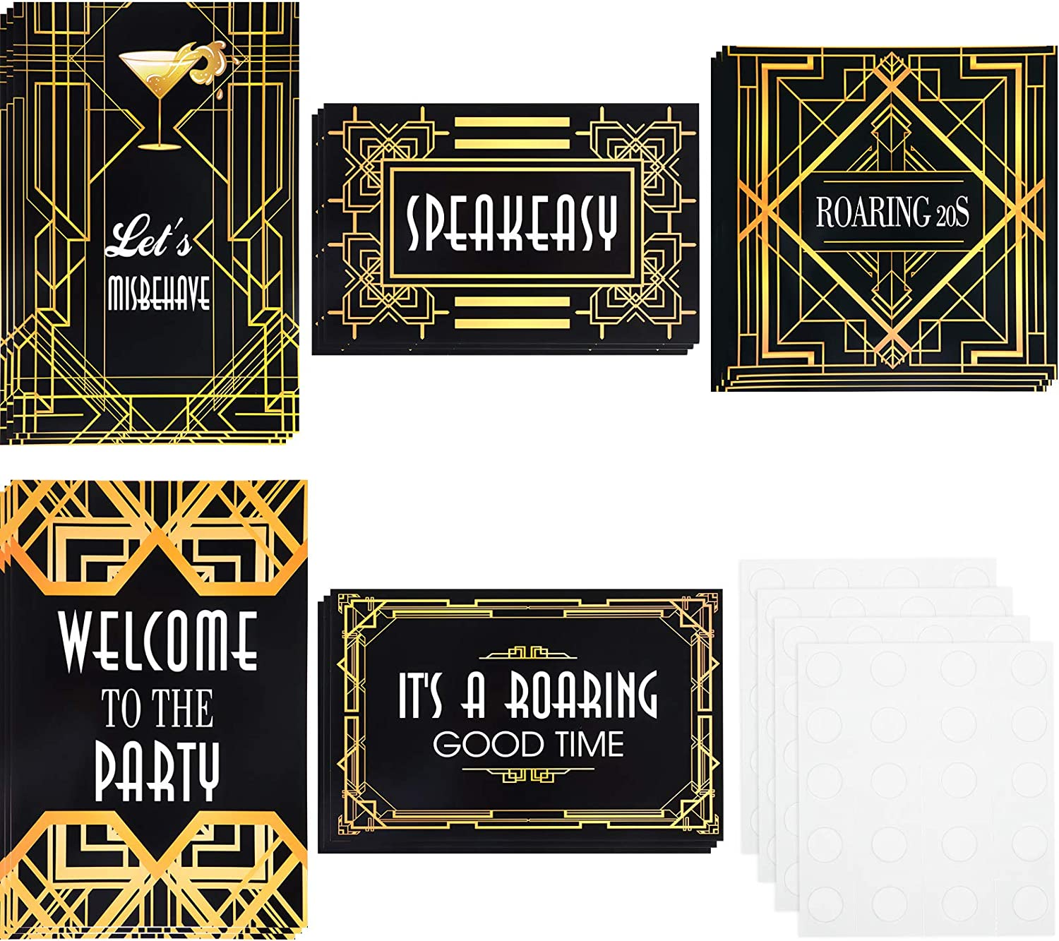 15 Pieces Roaring 20s Wall Signs Roaring 20s Party Retro Jazz Party Roaring Twenties Decorations Kit 1920s Party Supplies
