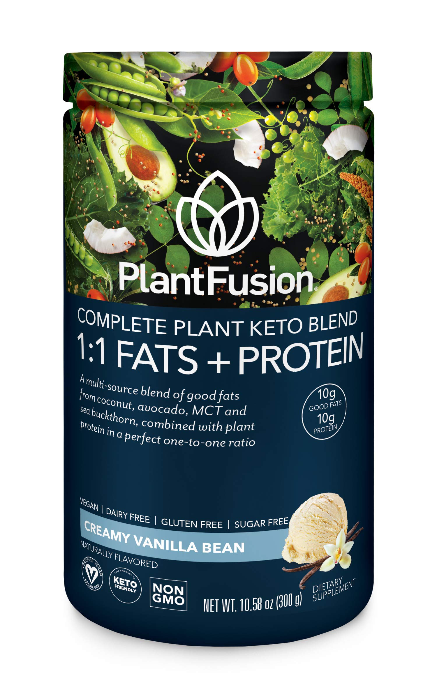 PlantFusion Complete Plant Based Keto Blend |1:1 Fats + Protein Powder Drink, Ketogenic Diet Supplement, MCTs, No Sugar, Gluten Free, Non Dairy, Vegan, Non Soy, Non GMO | Vanilla Bean, 10.58 Oz by PlantFusion