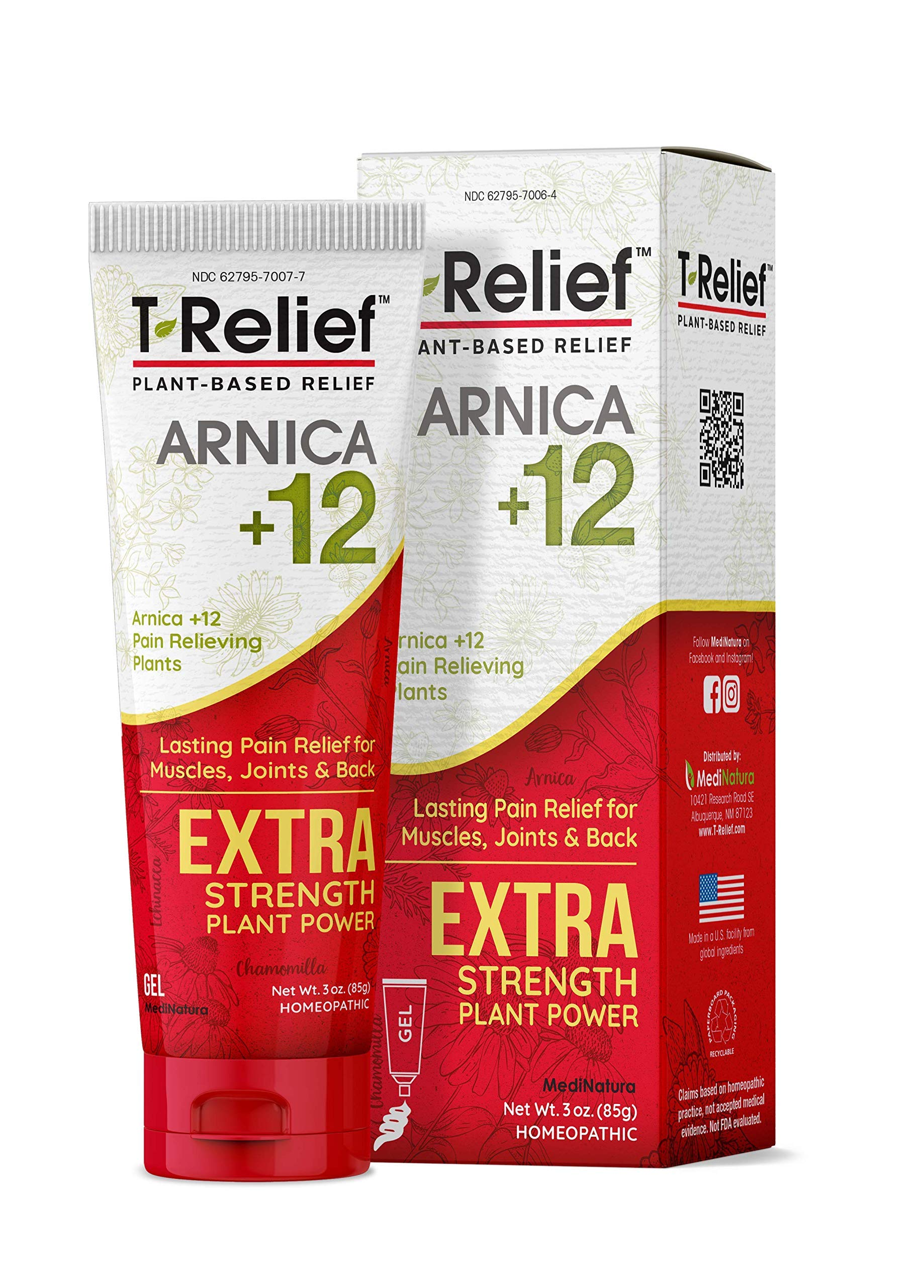 MediNatura T-Relief Extra Strength Pain Relief with Arnica + 12 Plant-Based Pain Relievers (3 Ounces Gel)