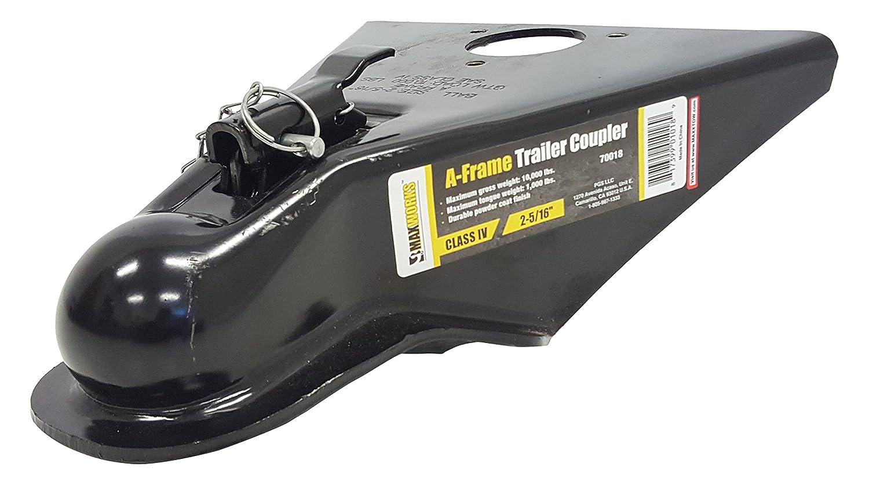 MaxxHaul 70018 Powder Coated Black Class III and IV A-Frame Trailer Coupler with 2-5//16 Ball