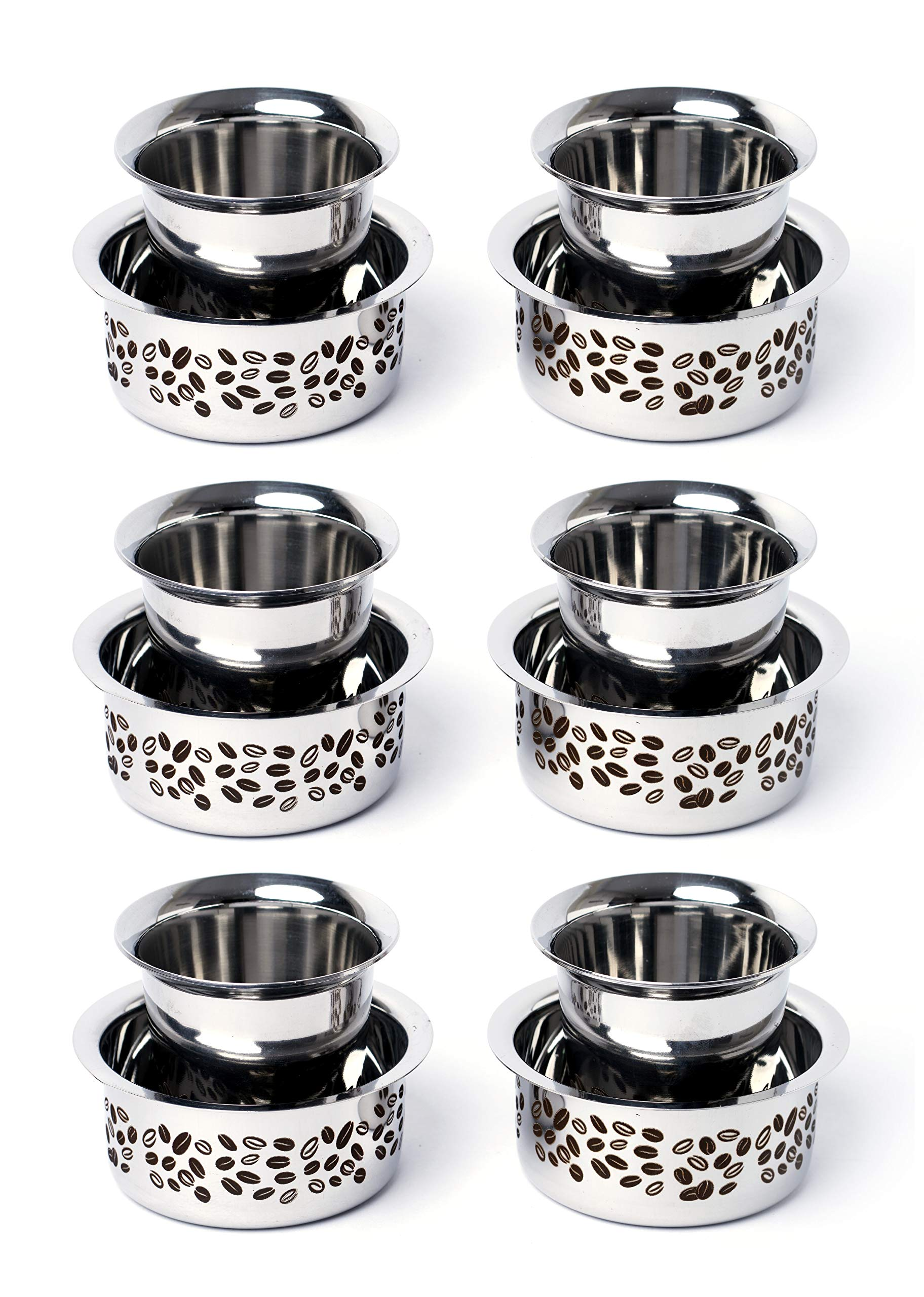 Embassy Aroma Coffee Glass/Tumbler with Dabara, Set of 6, 150 ml/Glass (Laser Coffee Bean Design, Stainless Steel)
