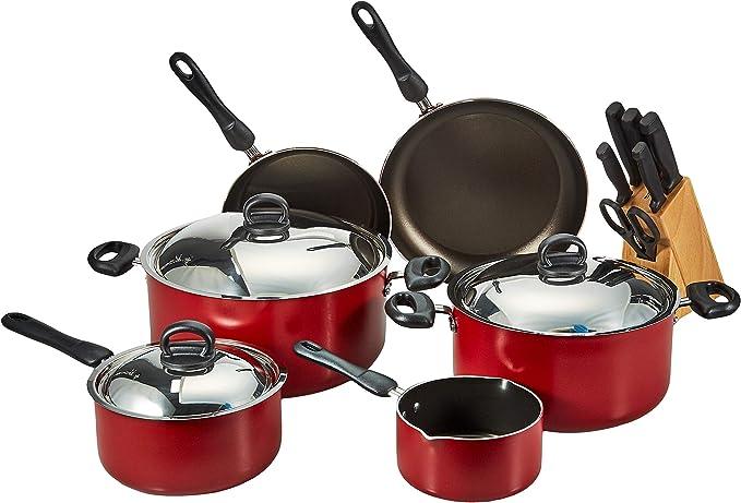 مجموعة أواني الطهي 22 قطعة من الألمنيوم المضاد للالتصاق من بريستيج، احمر – PR20965