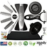GekkoZone Zoodle 4-Blade Vegetable Spiral Slicer with Recipe eBook, Ceramic Peeler and Pouch