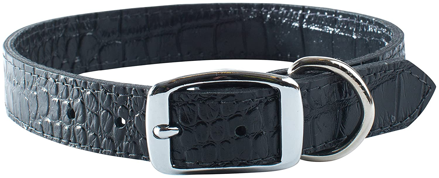 OmniPet Faux Crocodile Signature Leather Pet Collar with Bone Ornaments, Black, 1 by 26