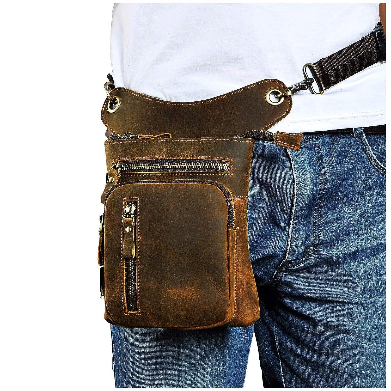 Leaokuu Mens Genuine Leather Motorcycle Waist Pack Messenger Shoulder Drop Leg Bag 211-5