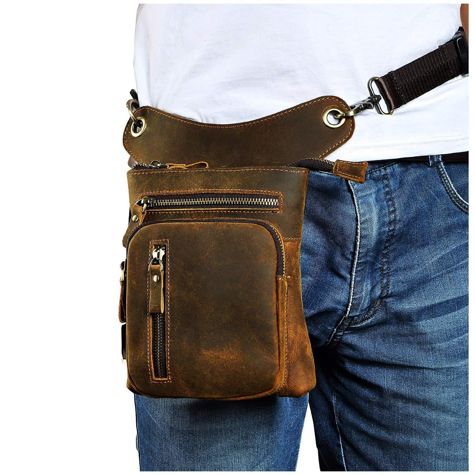 Le'aokuu Mens Genuine Leather Motorcycle Waist Pack Drop Leg Cross Over Bag (The 211-11 dark brown)