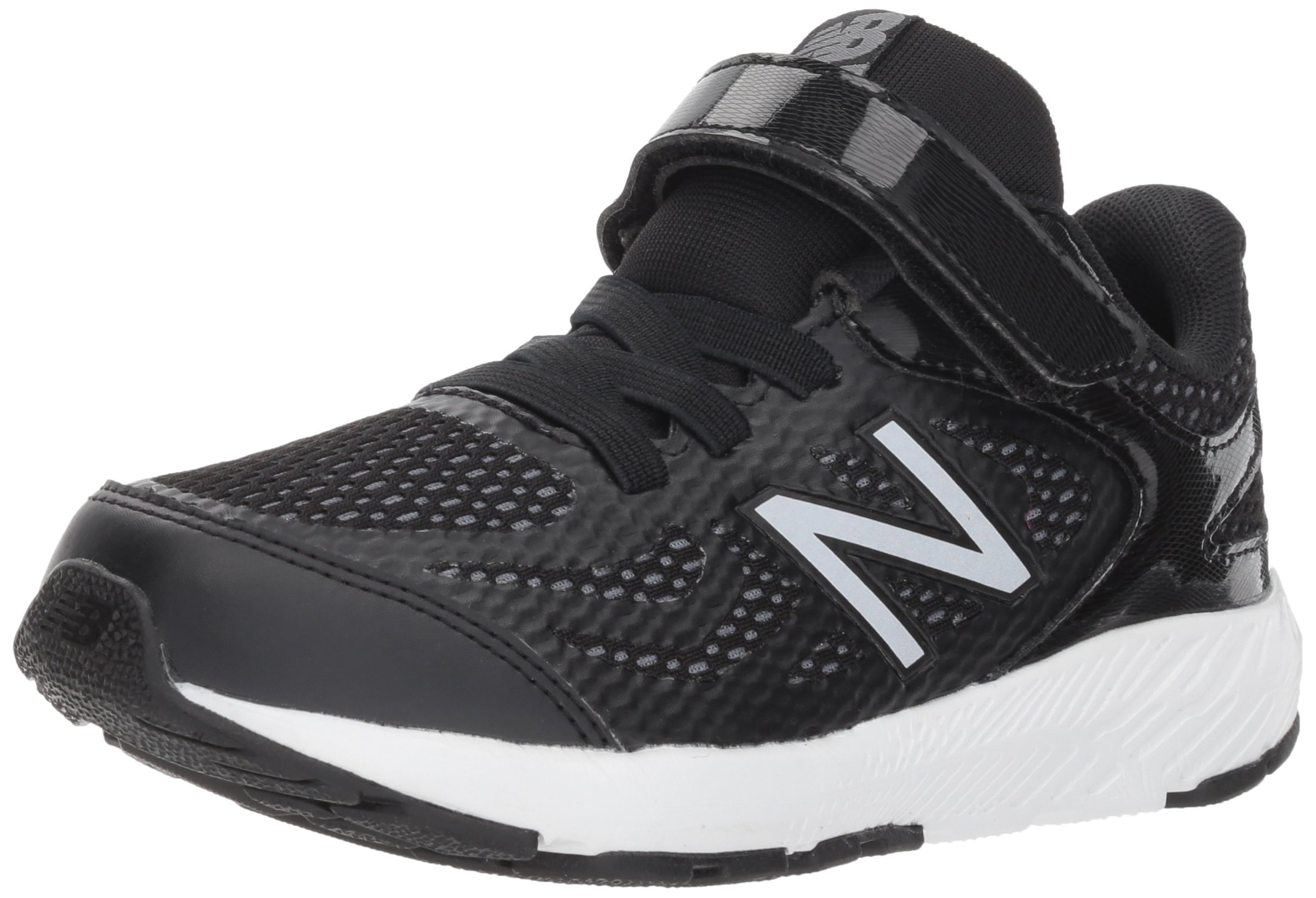 New Balance Boys' 519v1 Hook and Loop Running Shoe Black/White 2 M US Infant