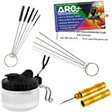 Master Airbrush 13 Piece Airbrush Cleaning Kit - Glass Cleaning Pot Jar with Holder, 5 pc Cleaning Needles, 5 pc Cleaning Bru