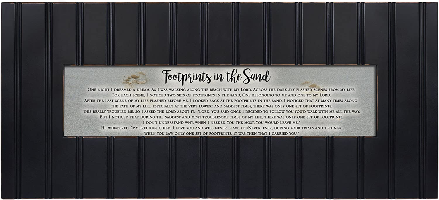 Cottage Garden Footprints in The Sand Decorative Black 22 x 8 Panoramic Wall Photo Frame Plaque
