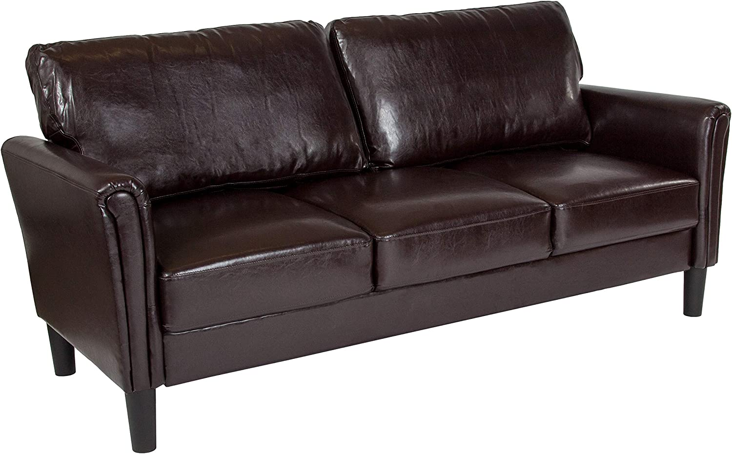Flash Furniture Bari Upholstered Sofa in Brown LeatherSoft
