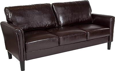 Flash Furniture Bari Upholstered Sofa in Brown Leather