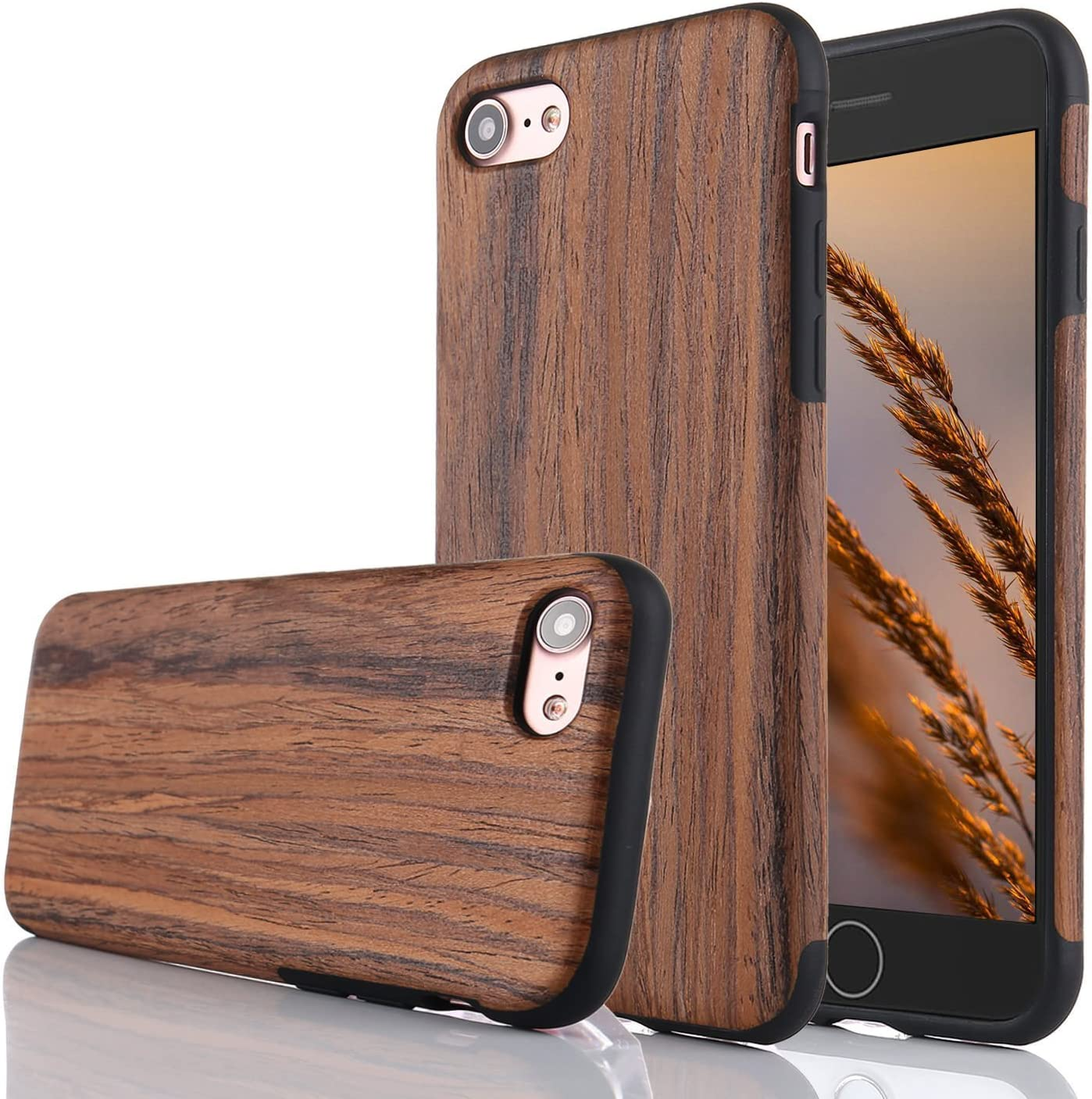 for iPhone 5S Case/iPhone SE Case,L-FADNUT Premuim Handmade Wooden Hybrid Back Flexible TPU Silicone Ultra Slim Back Case,Shock Absorbing Bumper Protective Case Cover-Purple Sandalwood
