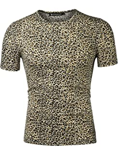 Mens Love Heart with Animal Cheetah Quick Dry Athletic Shirts Short Sleeve Sports Muscle Casual Top