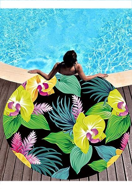 Lindalin - Toalla de playa con forma redonda, diseño de plantas tropicales, para protección