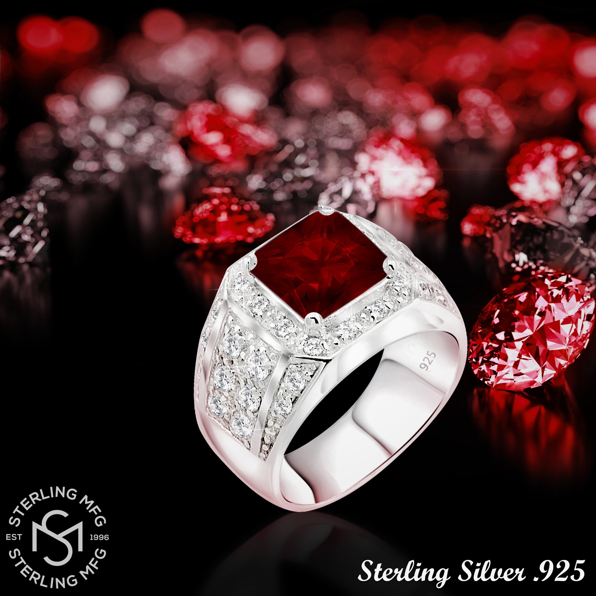 Men's Sterling Silver .925 Princess-Cut Ring Featuring a Synthetic Red Ruby Surrounded by 32 Fancy Round Prong-Set Cubic Zirconia Stones, Perfect for the Holidays (12) by Sterling Manufacturers (Image #5)