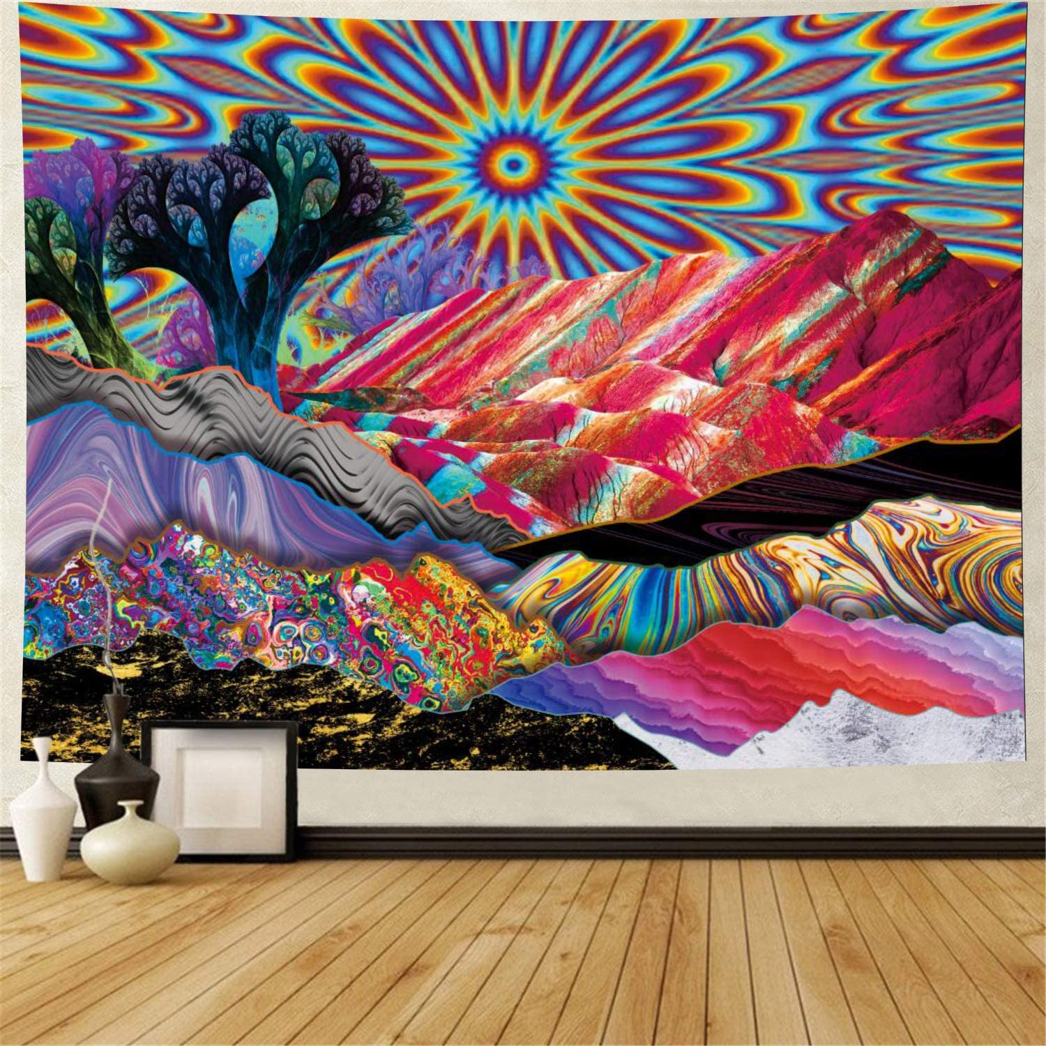 Psychedelic Tapestry Trippy Mountain Sun Tapestry Abstract Trees Tapestry Colorful Nature Landscape Tapestries Bohemian Hippie Tapestry Wall Hanging for Room (XLarge, Red Psychedelic)