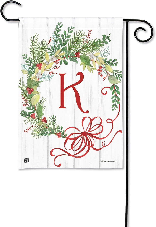 BreezeArt Studio M Winterberry Monogram K Garden Flag - Premium Quality, 12.5 x 18 Inches
