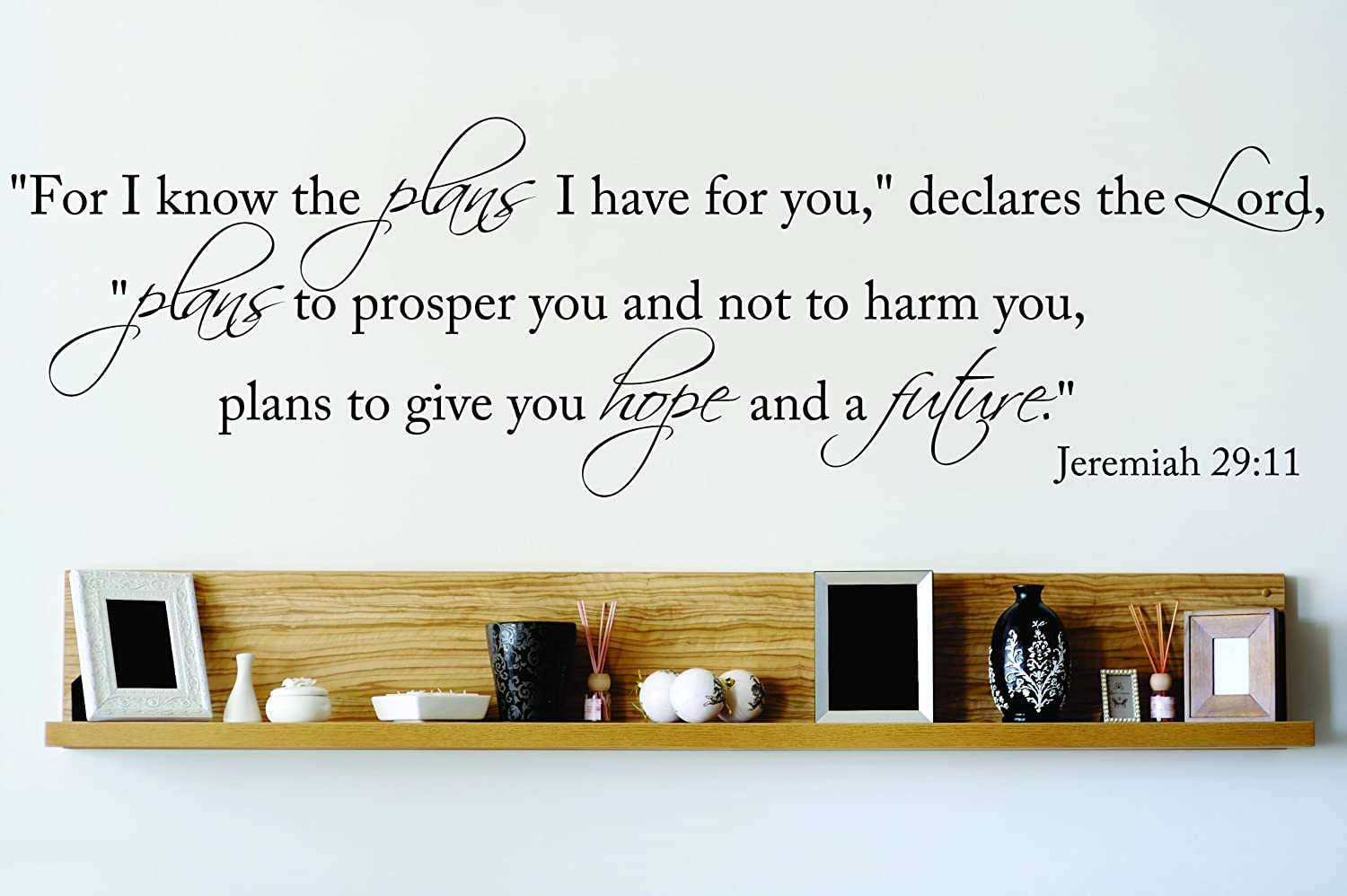 Design with Vinyl OMG 772 Black For I Know The Plans I Have For You Declares The Lord Plans to Prosper You and Not to Harm You Jeremiah 29:11 Quote Decal, 10-Inch x 40-Inch, Black by Design with Vinyl B00J6AVI3S