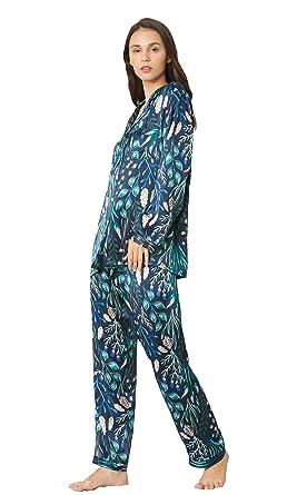 d683e6fbc1 LilySilk Mehrfarbiger Seide Schlafanzug Pyjama Set Damen Lang aus Seide von  19 Momme XS Verpackung MEHRWEG