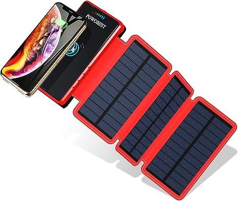 POWOBEST 20000mAh cargador solar, Wireless portátil Power Bank, resistente al agua, batería externa con 2 salidas USB, linterna para mochila, camping, excursiones, emergencia: Amazon.es: Grandes electrodomésticos