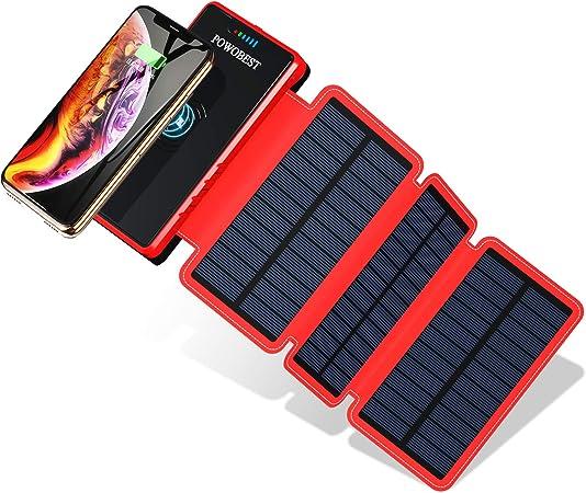 POWOBEST 20000mAh cargador solar, Wireless portátil Power Bank, resistente al agua, batería externa con 2 salidas USB, linterna para mochila, camping, ...
