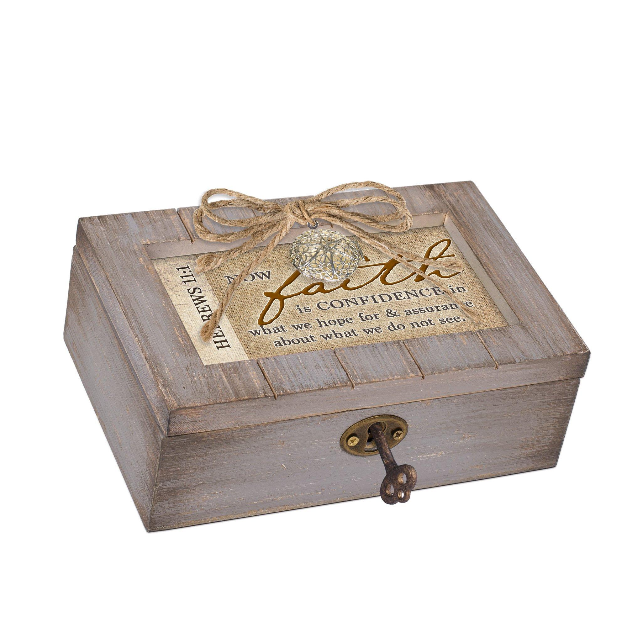 Cottage Garden Faith Is Confidence Assurance Grey Locket Petite Music Box Plays Friend In Jesus
