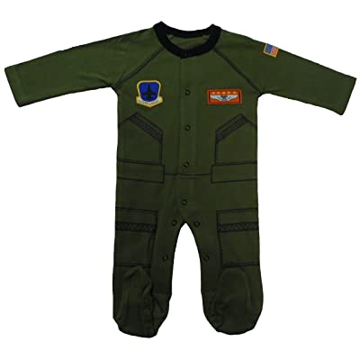 """Baby Boys Aviator Flight Suit """"Future Pilot"""" Long Outfit Olive Green"""
