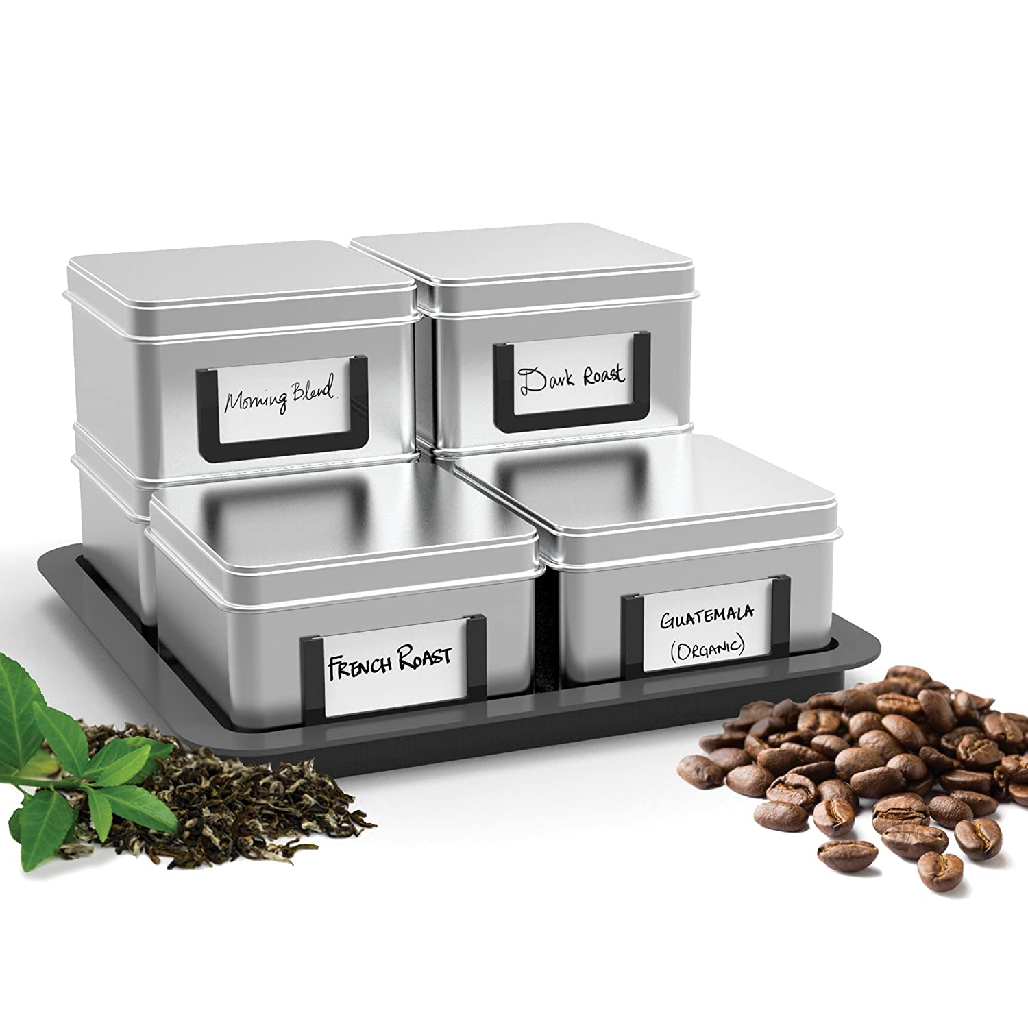 Mind Reader 7-Piece 'Stax' Loose Leaf Tea/Coffee Canisters with Tray, Silver CAN6PC-SIL