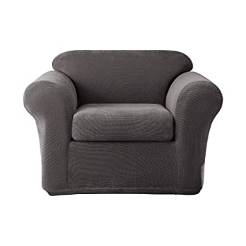 Good Sure Fit Stretch Metro 2 Piece   Chair Slipcover   Gray (SF39411)