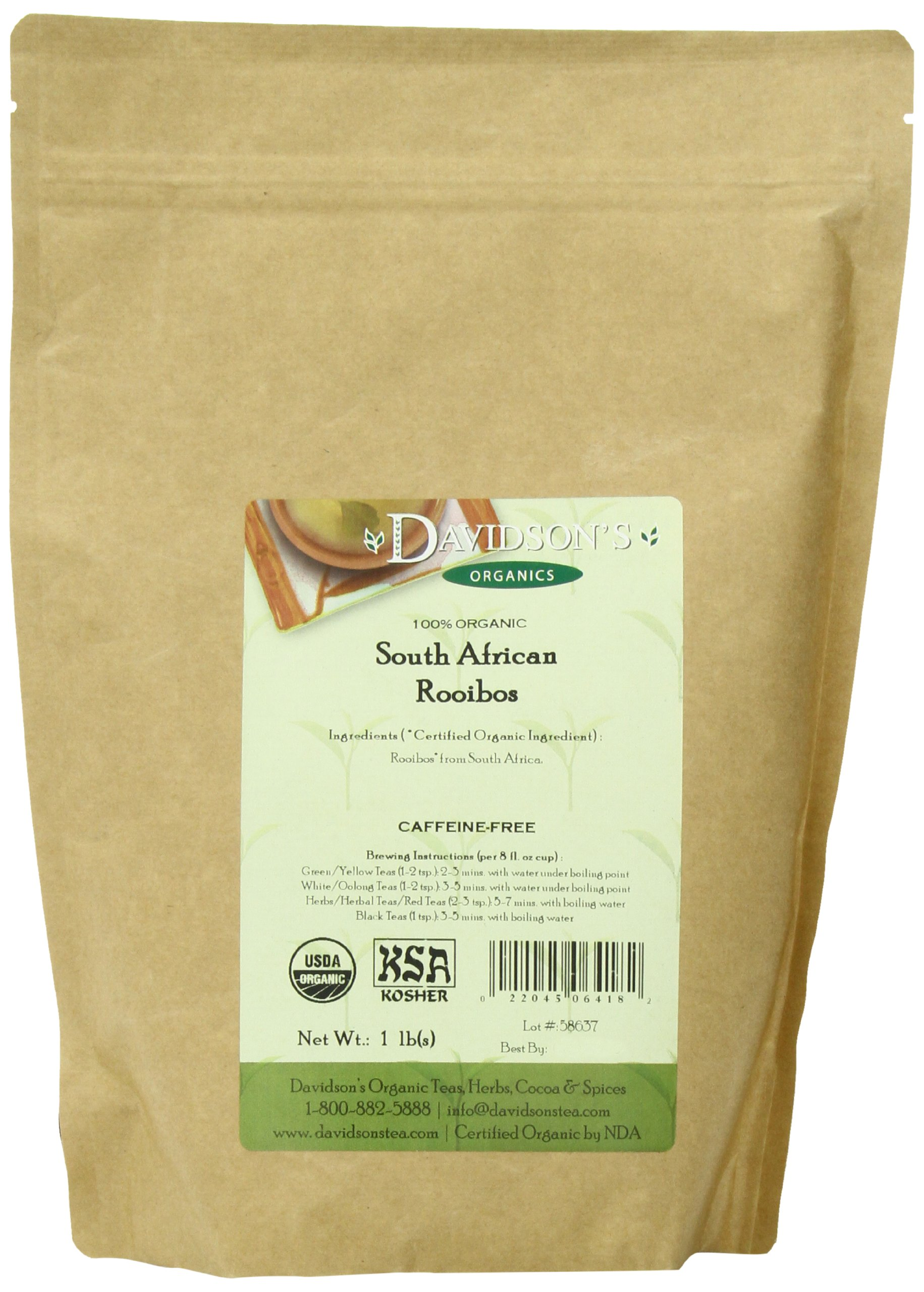 Davidson's Tea Bulk, Organic South African Rooibos, 16-Ounce Bag