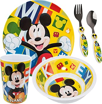 Disney Minnie Mous Geschirr Set 5-tlg Schüssel Teller Becher Gabel Löffel