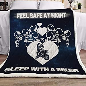iWow Bed Blankets Biker Fleece Blanket Plush - Feel Safe at Night Cozy Home, Couch Throw, Travel, Gift for Birthday Sick Friend Compassion Sympathy Anniversary 50X60