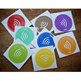 LINQS Waterproof NFC Tag Stickers (Set of 8) | For All Phones | NXP NTAG213 chip | Material Colors, Waterproof, Strong Adhesive