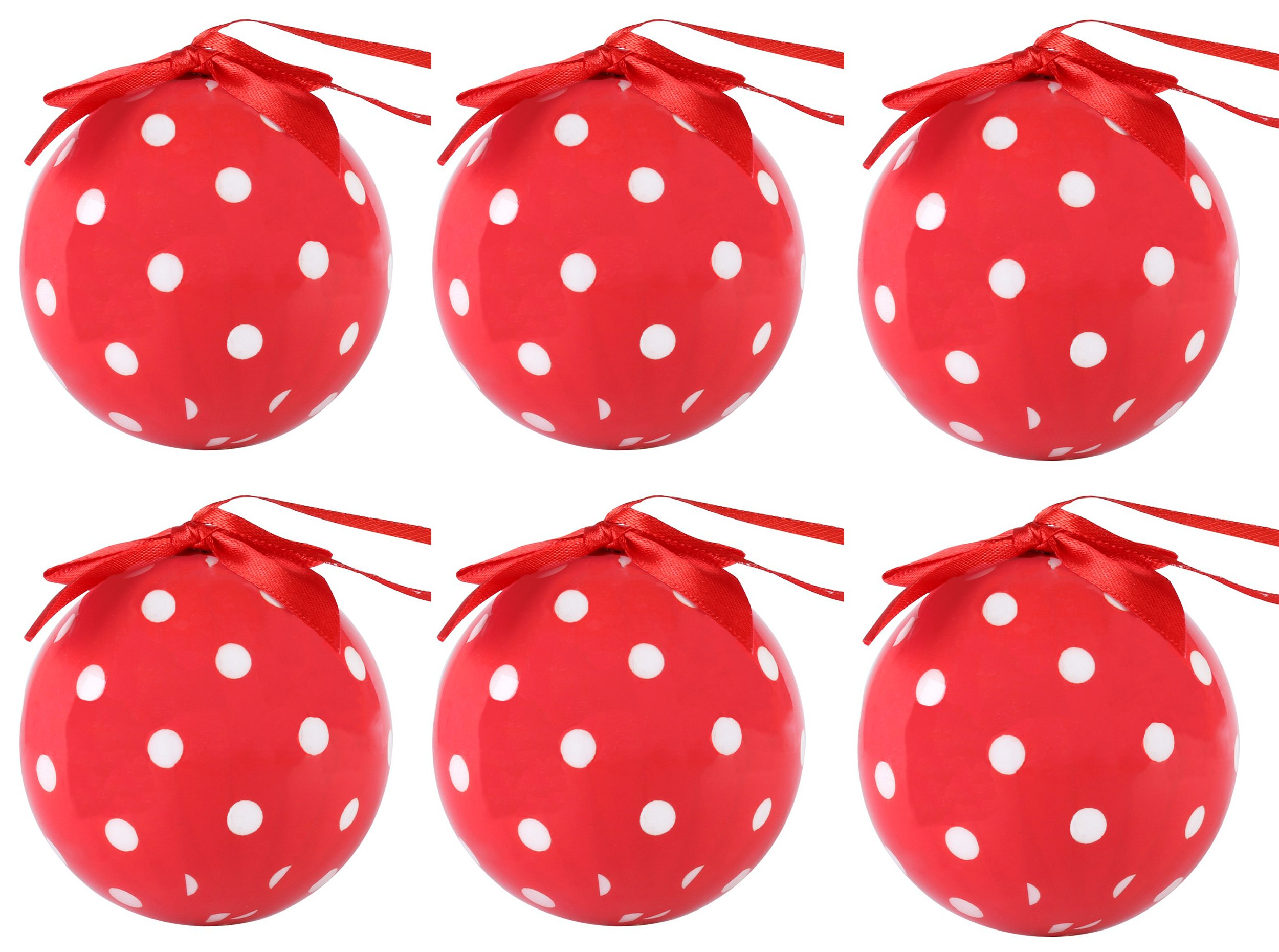 Cue Cue Festive Ready to Hang 24 Peice Red with White Polka Dots Ornament Set