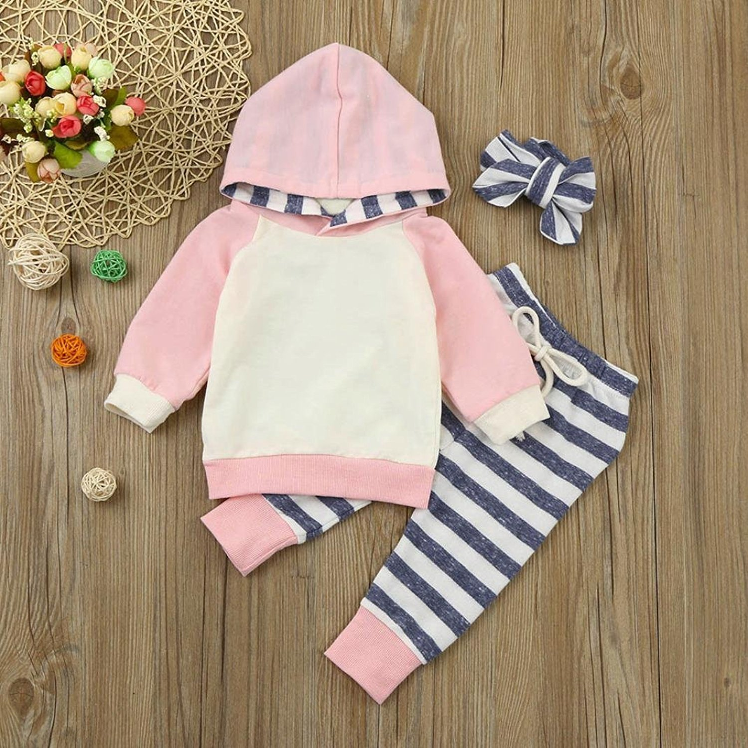 Baby Girls' Clothes Long Sleeve Hoodie Tops, Striped Pants+Headband Outfits Set (18-24 Months) by TUEMOS (Image #3)