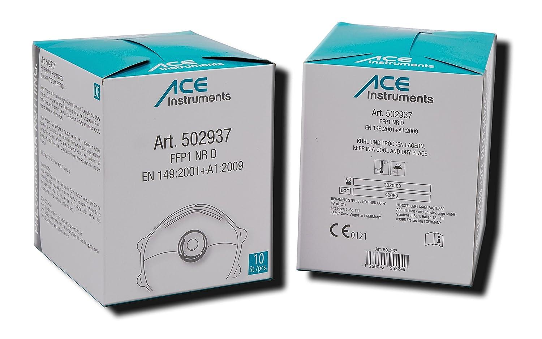 ACE 10 x Mascarilla Protectora FFP1, Contra Partículas, Humo, Aerosoles y Polvo, Mascarilla Protectora de las Vías Respiratorias EN149 .