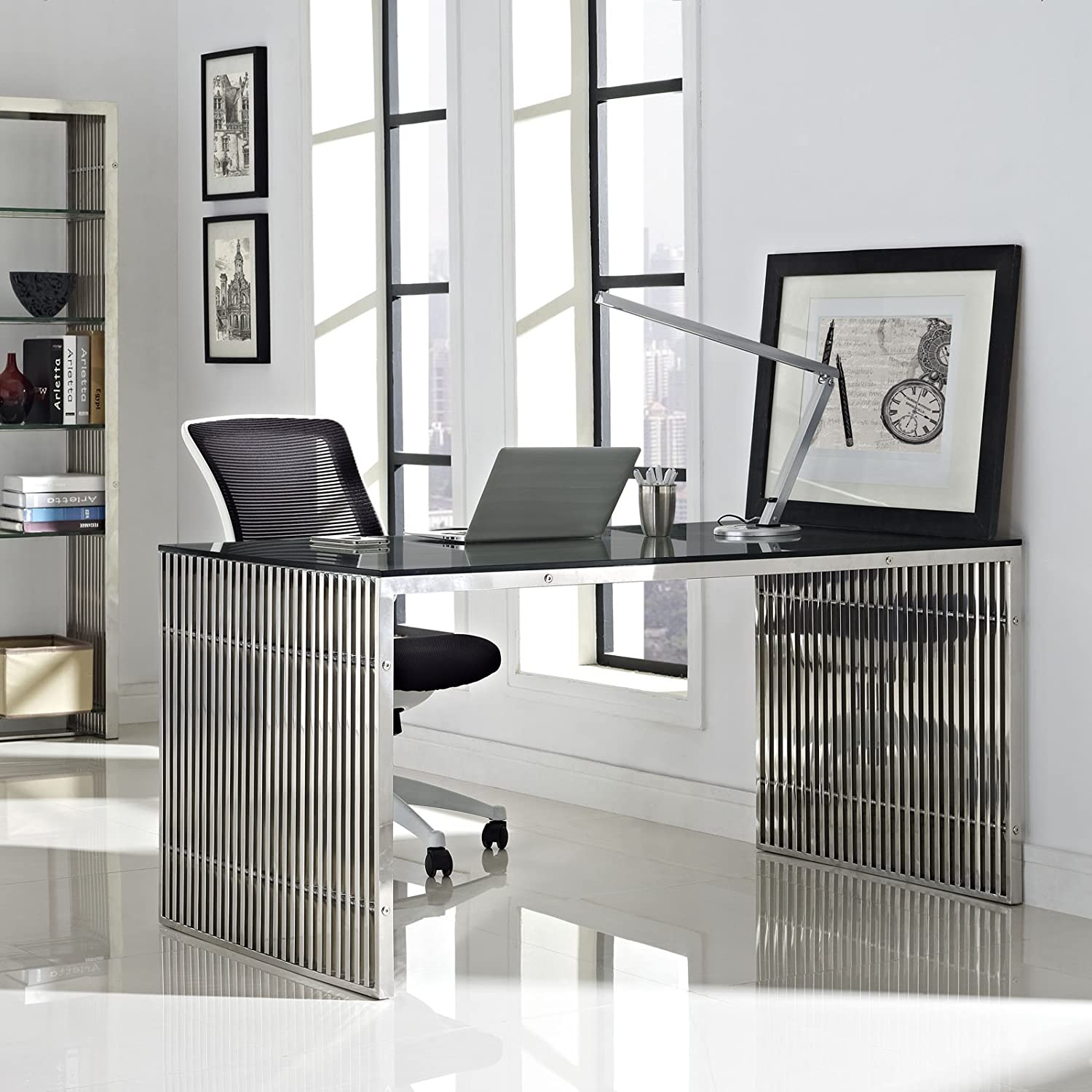 Amazon.com: Modway Gridiron Stainless Steel Dining Table In Silver: Kitchen  U0026 Dining