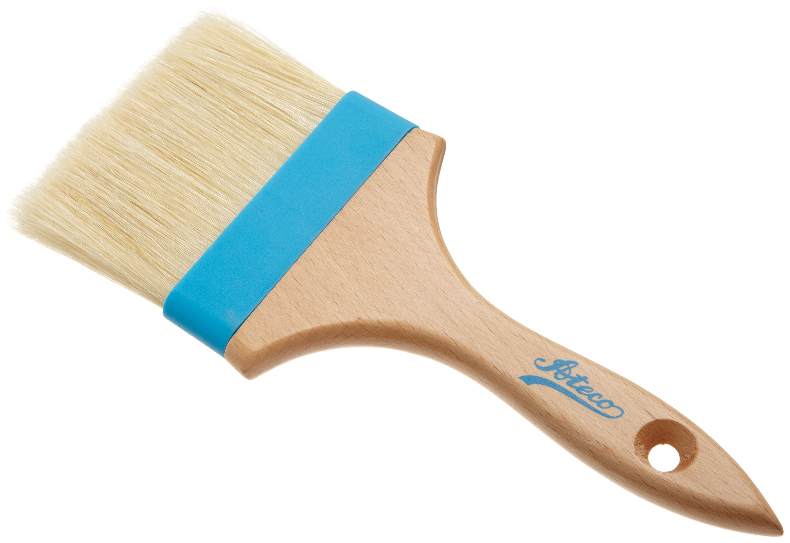 Ateco 60240 Pastry Brush, 4-Inch Wide Head with Natural White Boar Bristles, Composite Ferrule & Wood Handle