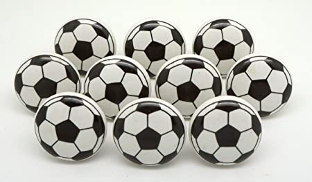 Set of 10 Black & White Ceramic Football Door Knobs Drawer Knobs ...