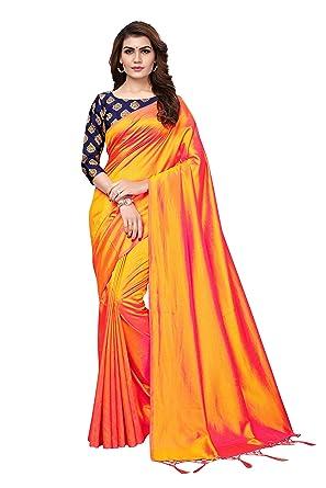 bd432d87b9f9fd Anni Designer Women s Sana Paper Silk Saree With Banarasi Silk Blouse   Amazon.in  Clothing   Accessories