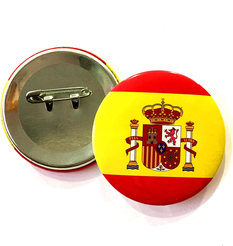 2 PCS PIN CHAPA con IMPERDIBLE CON BANDERA Y ESCUDO ESPAÑA SPAIN ...
