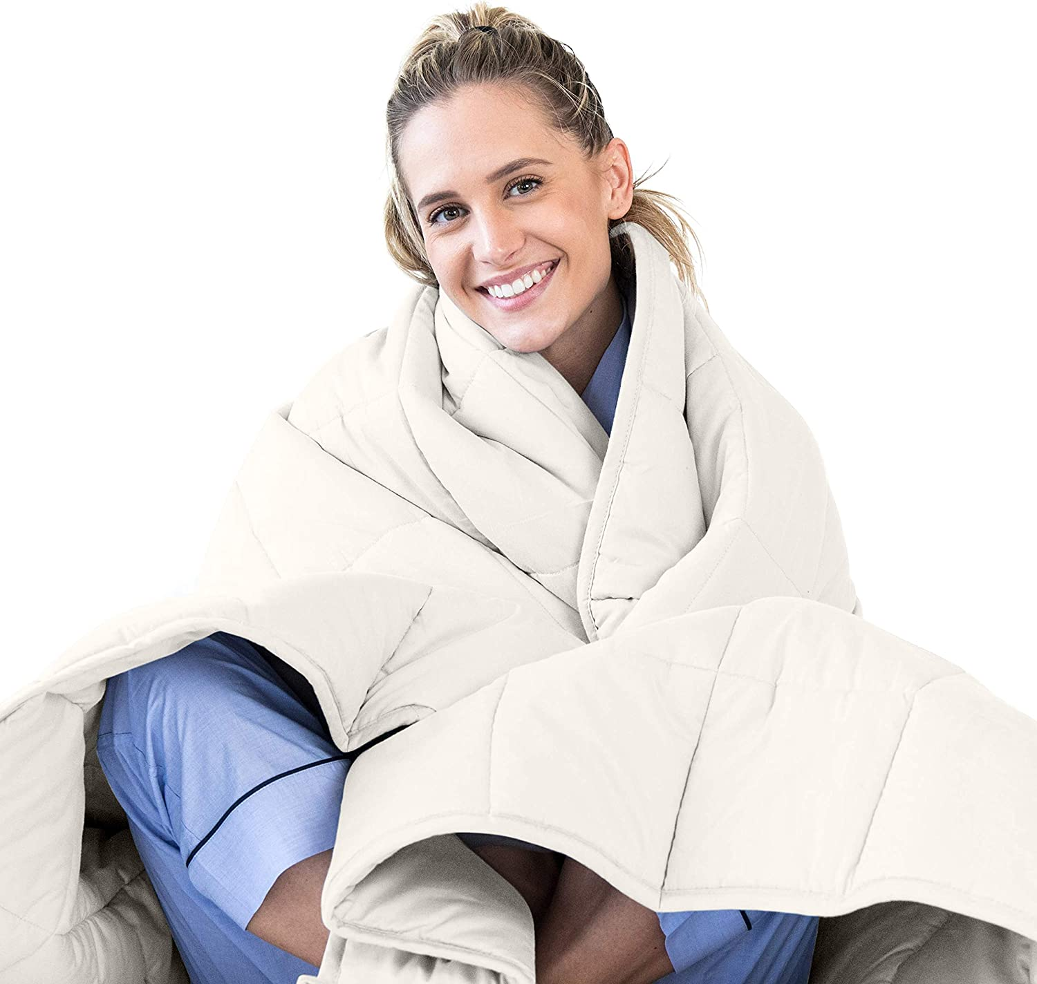 LUNA Adult Weighted Blanket | Individual Use - 20 lbs - 60x80 - Queen Size Bed | 100% Oeko-Tex Certified Cooling Cotton & Glass Beads | USA Designed | Heavy Cool Weight | Ivory