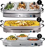 Homefront Pro-Series Buffet Server & Warming Tray (3-in-1) Large 7.5L Capacity with 4 High Quality Stainless Steel Insert Pans 3 Heat Settings Keeps Food Warm for up to 3 Hours