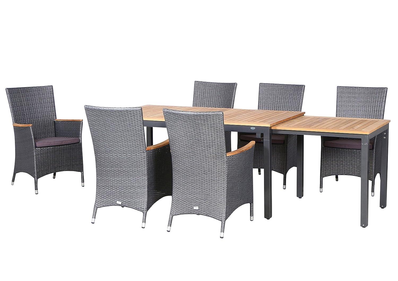 13-teilige Luxus Aluminium Teak Polyrattan Geflecht Gartenmöbelgruppe Matador , 6 Diningsessel, 6 Auflage und ein Ausziehtisch Tifosi 160/280x90, anthrazit - titan