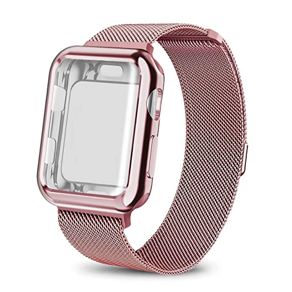 pretty nice 58702 9c845 SIXRARI Compatible Apple Watch Band with Case 42mm,Milanese Loop Stainless  Steel with Magnetic Closure & Metal Protective Cover Frame Adjustable Bands  ...