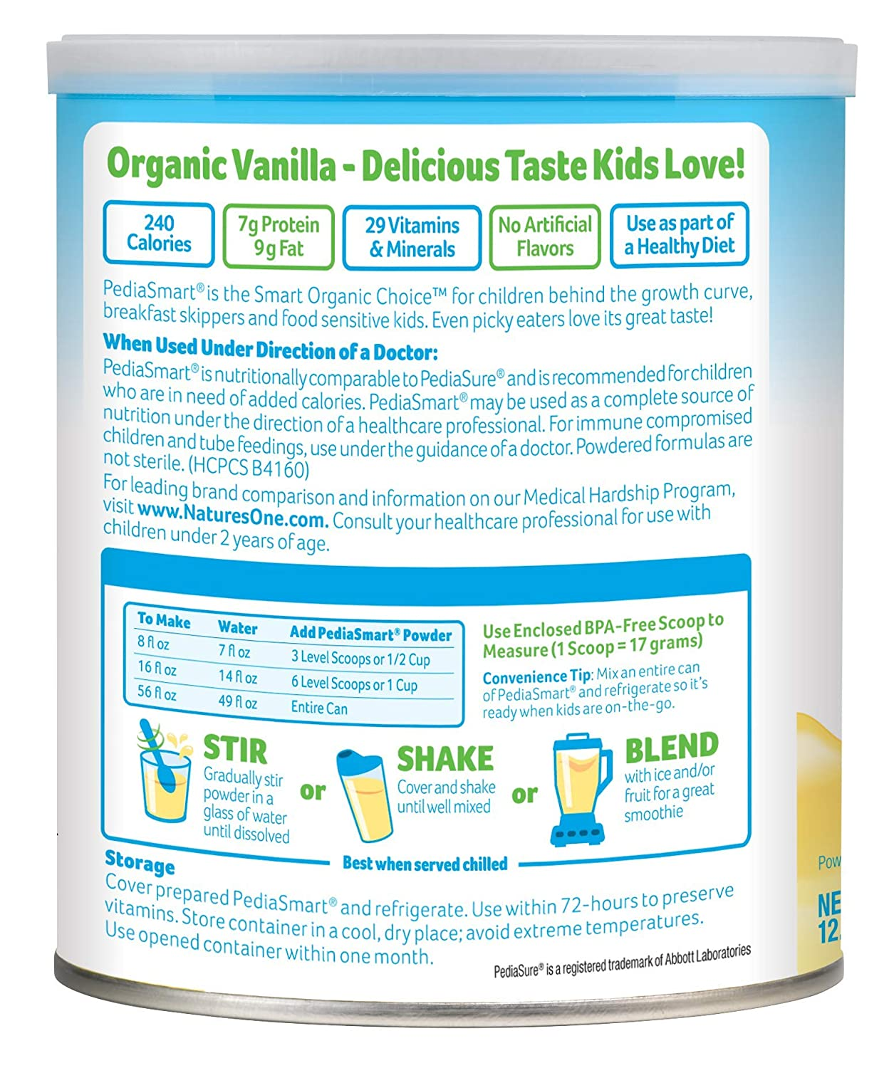 Amazon.com : PediaSmart Organic Non-GMO Soy Vanilla Complete Nutrition Beverage Powder, 12.7 oz (Pack of 6) : Grocery & Gourmet Food