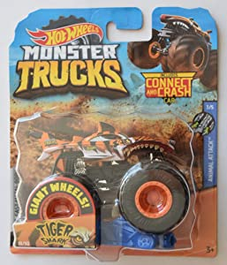 Hot Wheels Monster Jam 1:64 Scale Tiger Shark 18/50 Giant Wheels Includes Connect and Crash car