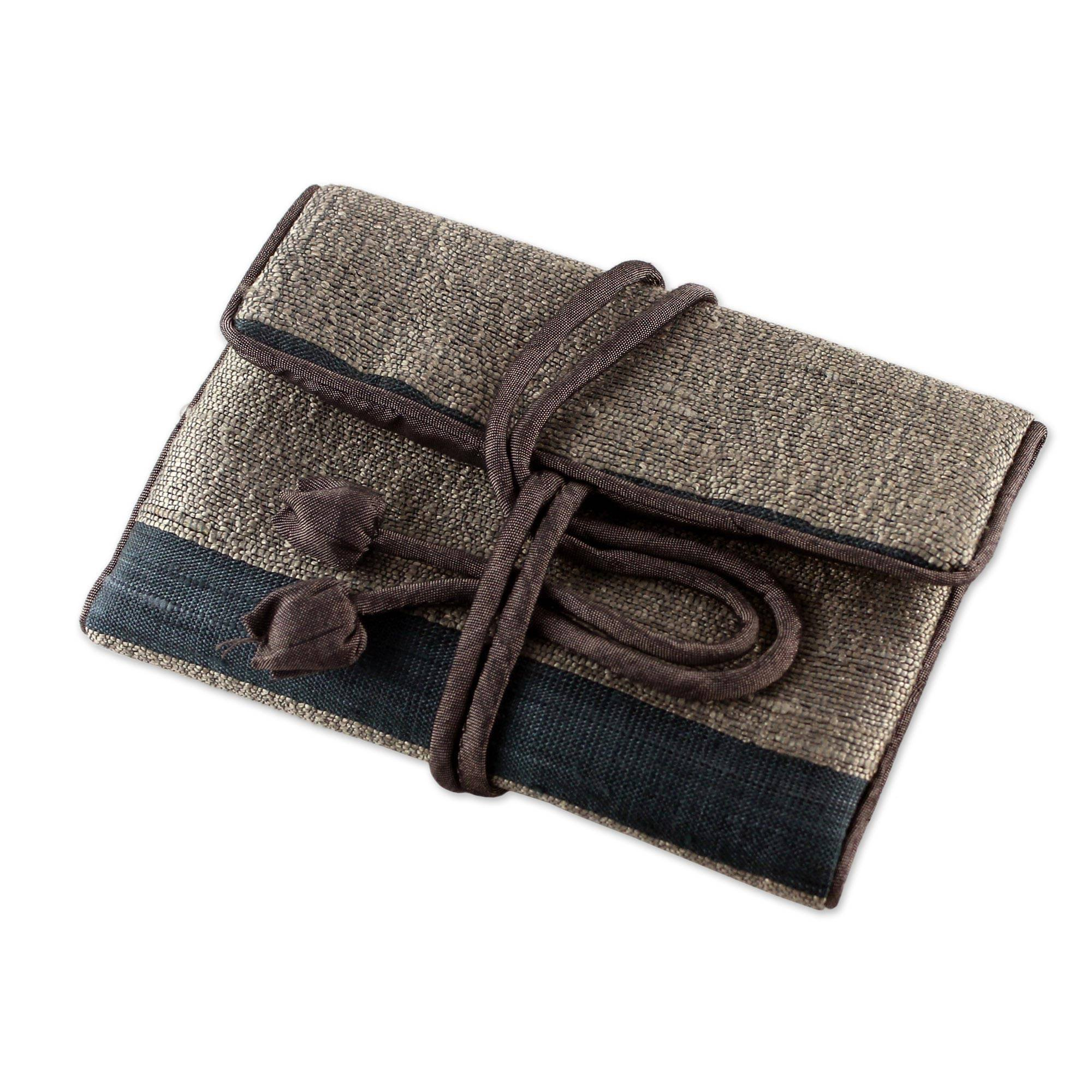 NOVICA Silk Jewelry Roll, Black and Grey, Happy Travels In Taupe'