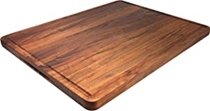 AZRHOM Extra Large Walnut Wood Cutting Board for Kitchen 24x18 Cheese Charcuterie Board (Free Gift Box) Extra Thick Butcher Block with Non-slip Mats, Handles and Juice Groove