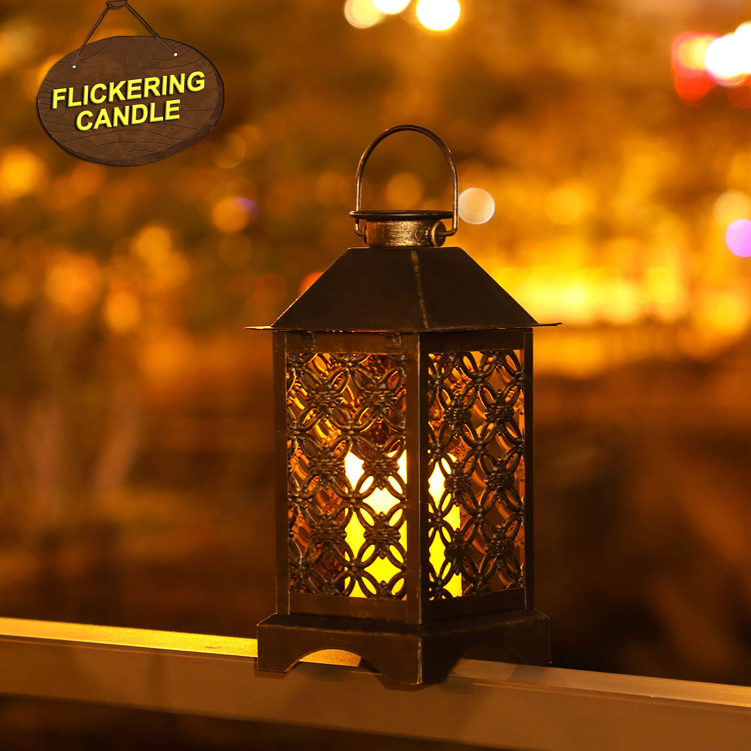 Solar Lantern Indoor or Outdoor 4LeafClover Bronze   Antique Metal Construction   Solar Powered Hanging Lantern or Tabletop with LED Flickering Candle 5.5 x 5.5 x 11 inches